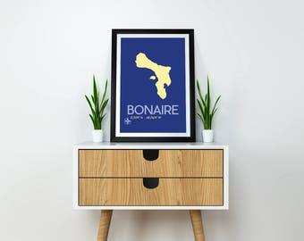 Bonaire Map Poster - Bonaire Art Print, Bonaire Poster, Minimalist Travel Poster, Bonaire Poster