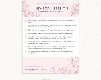 Newborn Photography Checklist for Parents, Prep checklist, Preparing for newborn sessions, Templates for photographers, Preparation