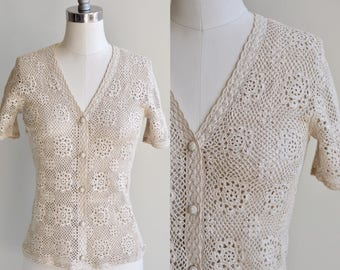 1960s Blouse / Cream Crocheted Blouse / Vintage 60s Cotton Knit Top