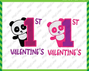 First Valentine's Panda SVG DXF PNG eps animal Cut File for Cricut Design, Silhouette studio, Sure Cuts A Lot, Makes the Cut and more