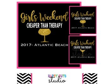 Girls Weekend Cheaper Than Therapy Personalized Glitter Mermaid / Martini / Wine Glass Matching Bridal Wedding Party Iron On Vinyl Decal