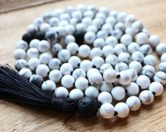 Howlite and Lava Stone Knotted Mala - Healing Crystals for Courage, Inner Calm, Balance, Emotional Healing and Grounding / 108