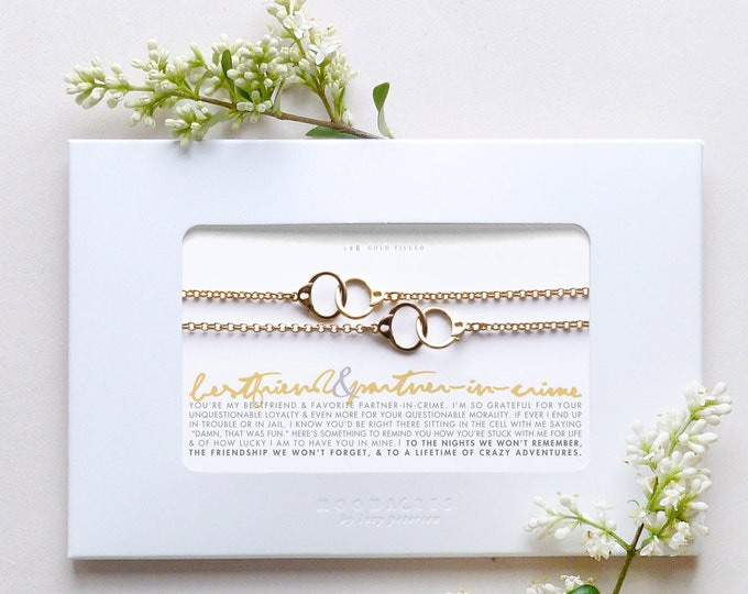 Bestfriend & Partner In Crime | 2 Pc Goldfilled Gold Hand Cuffs Bracelet Set Message Card Jewelry Birthday Graduation Best Friend Funny Gift