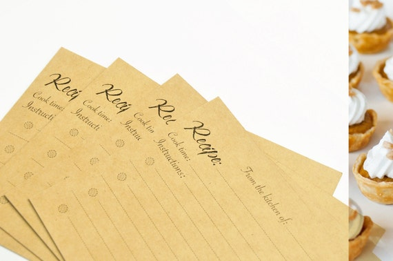 Wedding Gift Recipe Cards : Pastry recipe cards 50 kraft paper cards 4x6 recipe cards