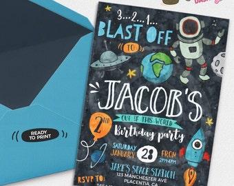 Astronaut Birthday invitation Rocket party invitation Printable outer Space invitations Rockets invitation astronaut invitation watercolors