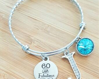 60 Birthday Gifts Birthday Bracelet Birthday Gift Birthday Gifts for Her Birthday Gift for Friend Birthday Gifts for Bestfriend 60 Fabulous