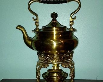 Antique Brass Spirit Kettle - S Sternau  Co - Teapot  Burner