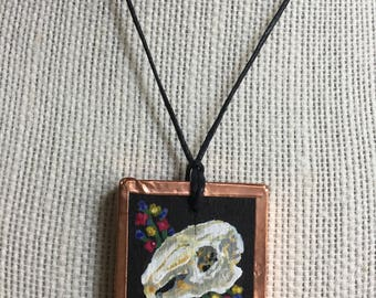 Rabbit skull pendant, Rabbit skull jewelry, Rabbit necklace, Rabbit painting, Handmade painted jewelry, Miniature animals painting