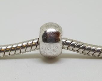 Set of 5 Plain Silver Round Spacer Bead for European Bracelets (item S038)