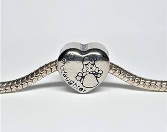 Silver Granddaughter Charm for European Bracelets (item 301)