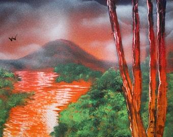 Spray Paint Art, Art Landscape, Spray Paint, Spray Paint Tree, Landscape Painting, Landscape Art, Speed Painting, Spray Art, Spray Painting