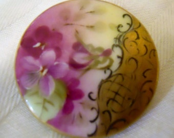 Antique Porcelain Button ~ Hand painted purple violets ~ 1  1/4 inch
