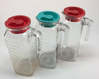 Vintage Italian lidded glass pitchers- COVETRO
