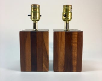 SALE- Vintage butcher block table lamps