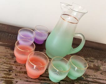 Vintage 1950s West Virginia Glass Blendo Frosted Rainbow-Colored 7-Piece Beverage Set | Pitcher and Glasses - Mid-Century Barware