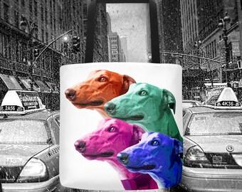 Greyhound tote bag, pop art tote bag, dog tote bag, ny tote bag, modern tote bag, fashion tote bag, fancy tote bag, dog lover tote bag