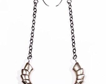 Dangle Weapon Earrings, White Bronze, Weapon Earring, Goat Horn, Scythe