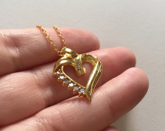 Vintage Heart Gold Plated Filled 925 Sterling Silver Pendant Necklace