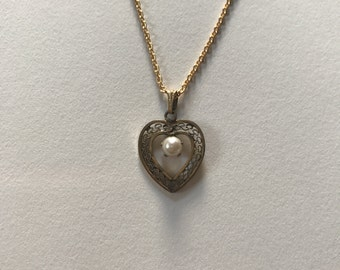 Vintage Filigree Heart 12k Gold Filled Pearl Pendant Necklace