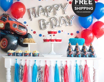 Blaze and the Monster Machines Party Supplies and Decoration Ideas. Blaze birthday party theme with banner, Blaze balloons, hats & cups.