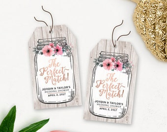 Floral Bridal Shower Printable Thank You Tags / Rustic Mason Jar Shower Favors Tags / The Perfect Match Wedding Shower Favor Tags