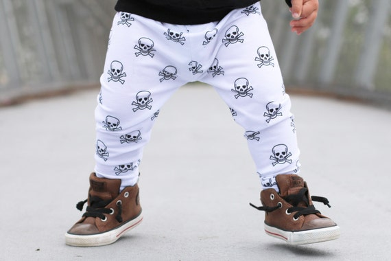 Halloween Handmade Childrenu0026#39;s Leggings - Skull Cross Bones Halloween Print - Baby Halloween ...