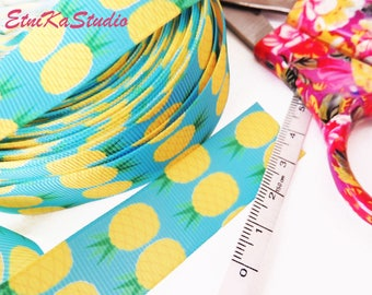 PINEAPPLE print, turquoise and yellow fun colorful print 22 mm Grosgrain Ribbon
