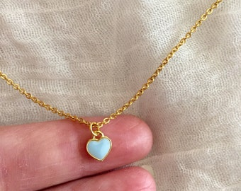 Tiny Heart Necklace-Gold Stainless Steel Chain-Small Heart Necklace-Epoxy Heart Charm-Layering Necklace-Dainty Necklace-Delicate Necklace