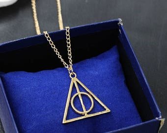 The Deathly Hallows Necklace Pendants, KC Gold, Harry Potter, Students Gift, Magic