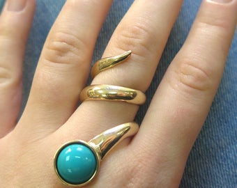 Snake Ring - Turquoise gold ring -  Unique Gold Ring - Gold Spiral Ring - Gold Statement Ring - Turquoise Gold Ring - Spiral Ring - 14K Ring