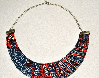 African necklace-African fabric necklace-African Jewelry-Fabric necklace-Fabric choker-Ankara print necklace-Ethnic necklace-Bib necklace