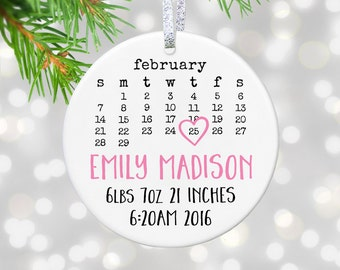Personalized Baby Birth Stats Gift New Baby Girl Gift Baby Birth Announcement Ornament Birth Details Birth Stats Ornament New Baby Stats