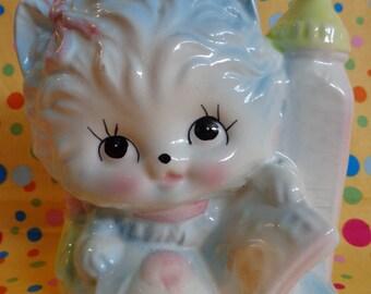 Vintage Cat Planter ~ Kitty Planter ~ Cat with Baby Bottle ~ Nursery Decor ~ Baby Shower Gift ~ Big Eye Cat ~ Retro Baby ~ 1960s