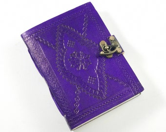 Purple Classic Embossed Leather Journal, Embossed Leather Journal,Purple Leather Journal,Medium Purple Leather Journal,Purple Pocket Journal