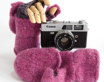 Hand knit, hand felted convertible mittens, fingerless mitts