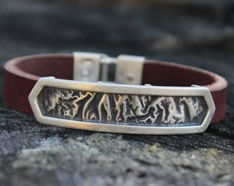 Reticulated sterling silver and leather cuff bracelet * Modern, contemporary, bold, oxidized bracelet