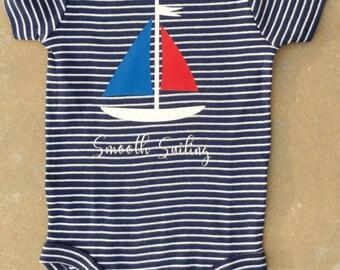 Baby Boy Onesie 3-6 Months Nautical Theme Smooth Sailing
