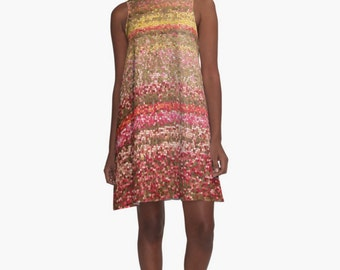 Pink Summer Sun Dress, Abstract Print A-line Dress, Red Dress, Spring Dress, Yellow Dress Short Dress Colorful Women's Dress XS S M L XL 2XL