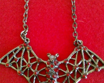 Gothic Red Rhinestone Bat Necklace