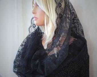 Black Chantilly Lace Infinity Veil Eternity Veil Chapel Veil Trad Catholic