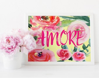 Floral wall art, abstract print, Amore print, Italian quote, Vintage art print, printable art, Romantic print, printable quote, Italian sign