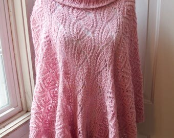 Hand Knit Lace Poncho, Made to Order Sweater, Lace Sweater, Hand Made Loose Sweater, Spring sweater, Womens Sweater