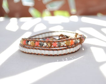 Bracelet wrap 2 turns • leather, coral pink, Labradorite, Jasper landscape
