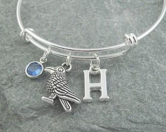 Raven bracelet, bird charm bracelet, silver bangle, initial bracelet, bird jewelry, swarovski birthstone, personalized jewelry, monogram