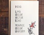 I Love You - Phonetic Alphabet - Romantic Greeting Card
