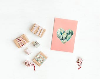 Greeting Card, Handmade, Love, Birthday, Heart, Prickly Pear, Boyfriend, Girlfriend, Husband, Wife, Mom, Dad, Friend, Nature, Plant, Cactus