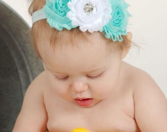 Teal & White Headband, Teal Headband, Aqua Headband, Aqua Baby Headband, Baby Girl Headband, Infant Headband, Newborn Headband, Headband