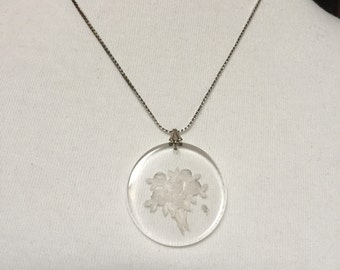 "Etched Lucite Flower Necklace 16"" Chain"