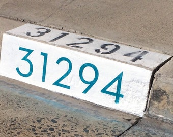 """Modern Curb House Number Stencil; 4"""", Mid Century, Palm Springs, Neutra, Atomic"""