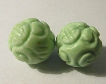 """Dyed Mint Green Gemstone Beads with Chinese """"Shou"""" Motif, 15mm, Set of 2"""